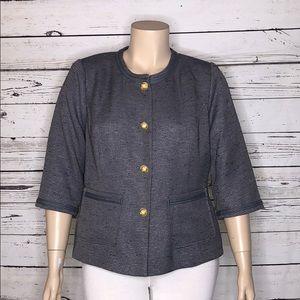 Joan Rivers 18W Gray Classic Pearl Blazer Jacket